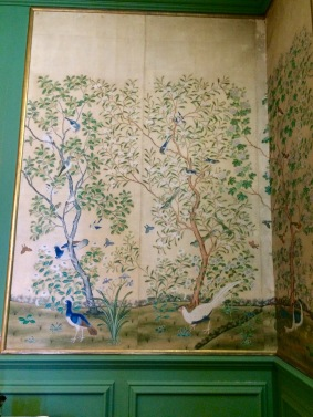 One of the original silk painted Chinese screens in the library